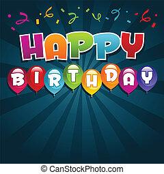 urodziny, powitanie karta, szczęśliwy