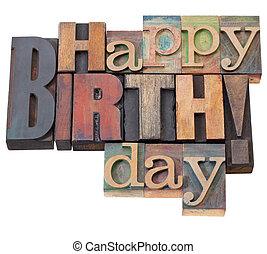 urodziny, typ, letterpress, szczęśliwy