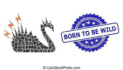urodzony, kropka, zdrapany, niebezpieczeństwo, znak, łabędź, czarnoskóry, skwer, czuć się, mozaika, dziki