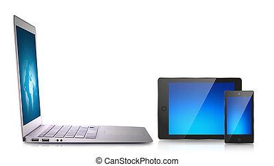 urządzenie, laptop, tabliczka