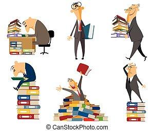 urzędnik, dokumenty, pracujący