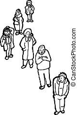 usługiwanie, kreska, szkic, ludzie