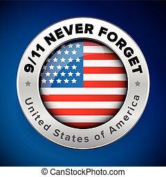 usa, 9/11, my, znak, będzie, nigdy, bandera, zapominać