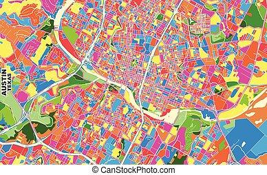 u.s.a., barwny, wektor, texas, austin, mapa