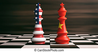 usa, concept., szachy, bandery, ilustracja, kooperacja, kings., porcelana, 3d