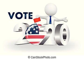 usa, ludzie, -2020, mały, wektor, głos, logo, 3d