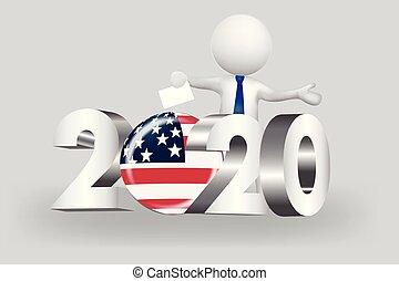 usa, ludzie, -, mały, 2020, głos, logo, 3d