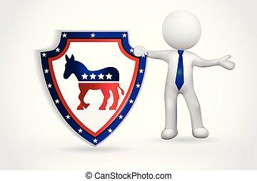 usa, ludzie, symbol, -, mały, demokratyczny, 3d