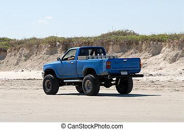 usa, południowy, pickup samochód, texas, plaża