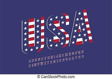 usa, styl, bandera, krajowy, chrzcielnica