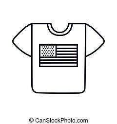 usa, styl, koszula, kreska, bandera, ikona