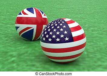 usa, wrębiać piłki, uk, bandera