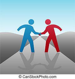 uzgodnienie, handlowy zaludniają, razem, postęp, towarzysz