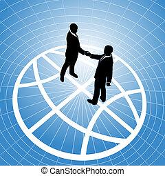 uzgodnienie, ludzie, kula, handlowy, globalny, porozumienie