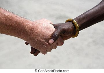 uzgodnienie, między, kaukaski, afrykanin