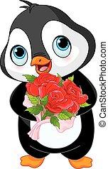 valentine, pingwin, dzień, sprytny
