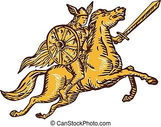valkyrie, jeżdżenie, akwaforta, miecz, wojownik, koń