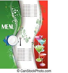 ve, menu., barwny, restauracja, (cafe)