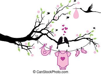 vecto, drzewo, dziewczyna, ptaszki, niemowlę
