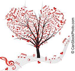 vecto, symbol, drzewo, nuta, muzyka, serca