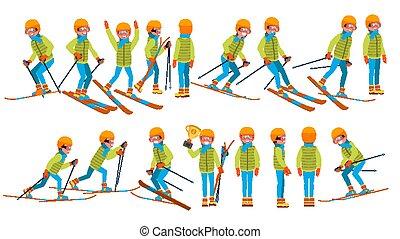 vector., action., człowiek, samiec, narciarstwo, rysunek, zima, suit., skis., ilustracja, narta, sport., litera
