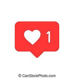 vector., podobny, wektor, awizo, icon., instagram, ikona, media, notifications, towarzyski