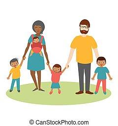 vector., prąd, trzy, rodzina, rysunek, children., ilustration, mieszany