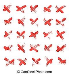 vector., symbol, -, krzyż, odizolowany, tło., litera x, biały, albo, czerwony, handwritten