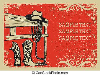 .vector, wizerunek, tło, elementy, życie, grunge, cowboy's, tekst, graficzny