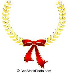 (vector), złoty, wieniec, czerwony, laur, wstążka