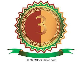 (vector), zielony, wstążka, gwiazdy, medal, brąz