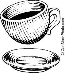 vectorized, rys, atrament, filiżanka do kawy
