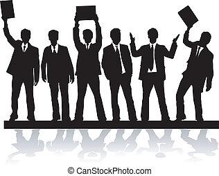 vectors, sylwetka, , 2, czarnoskóry, biznesmen, praca