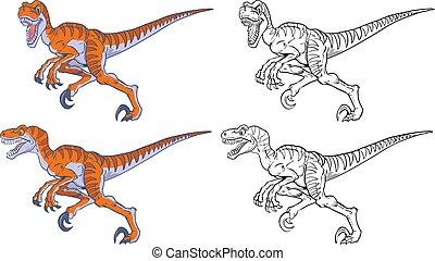 velociraptor, wyścigi, komplet, rysunek, maskotka