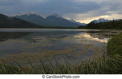 vermilion, zachód słońca, odbicie, jeziora