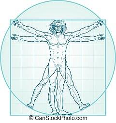 vitruvian, (aqua-air, version), człowiek