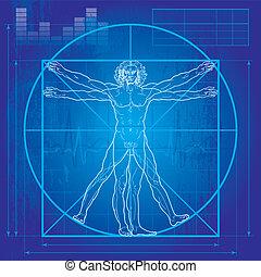 vitruvian, (blueprint, version), człowiek