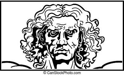 vitruvian, głowa, człowiek