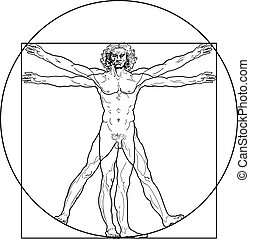 vitruvian, (outline, version), człowiek