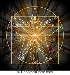 vitruvian, pentagram, człowiek