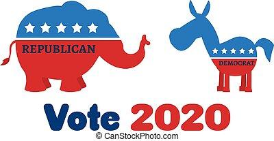 vs, republikanin, osioł, demokrata, słoń, polityczny