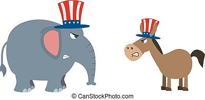 vs, słoń, polityczny, osioł, republikanin, demokrata