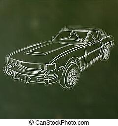 wóz, abstrakcyjny, ilustracja, kreda, wektor, sketched