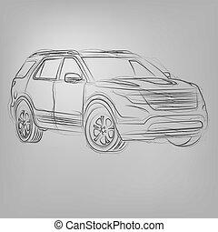 wóz, abstrakcyjny, ilustracja, wektor, sketched, biały