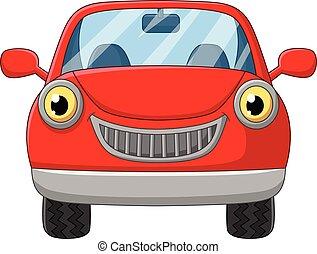 wóz, biały, rysunek, tło, czerwony