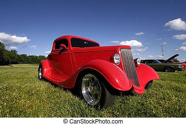 wóz, czerwony, klasyk