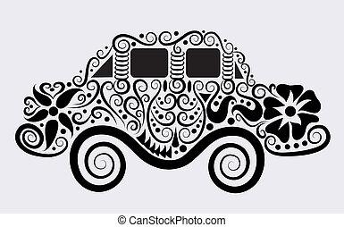 wóz, dekoracyjny, wektor