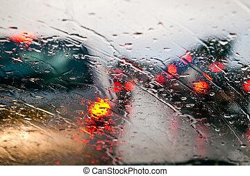wóz, deszcz, dżem, handel, podczas, szyba przednia