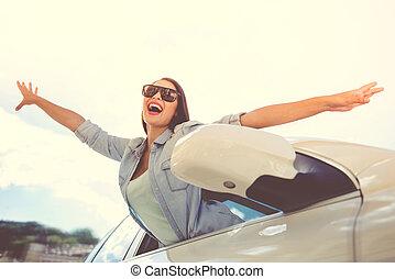 wóz, dziewczyna, napędowy
