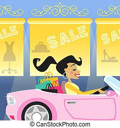 wóz, dziewczyna, zakupy